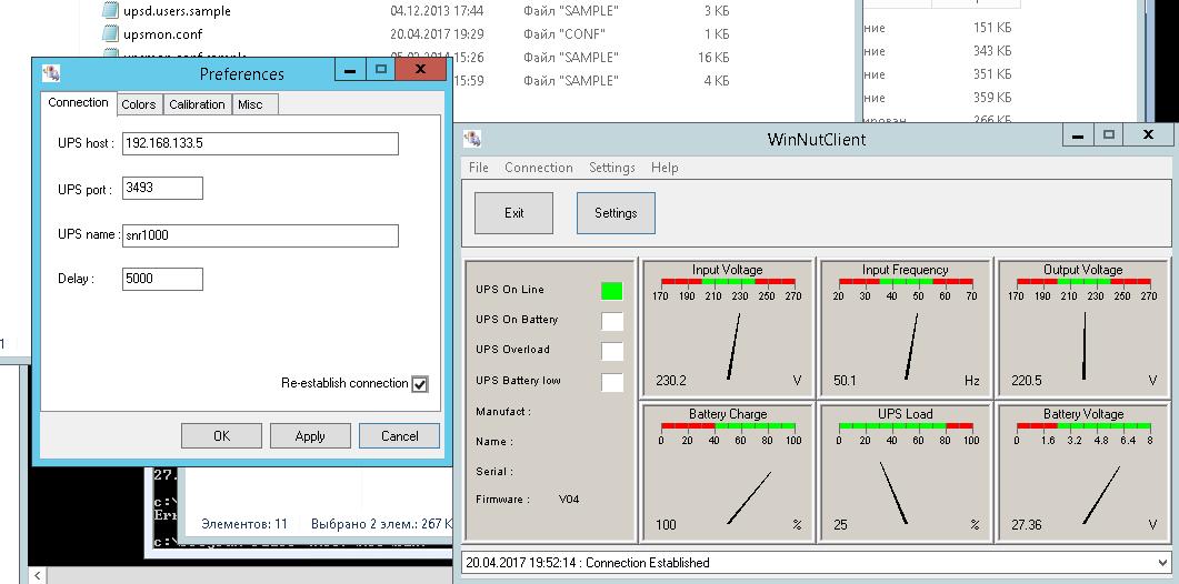 Настройка мониторинга состояния ИБП SNR серии Element в Windows